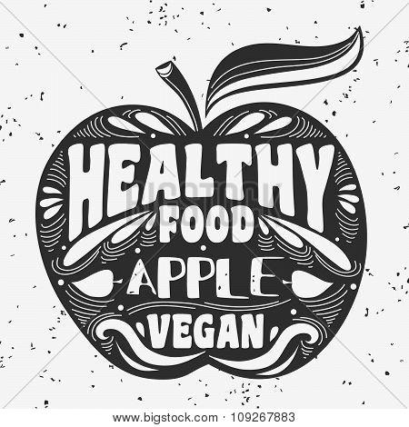 Vegan Typographic Print With Apple.