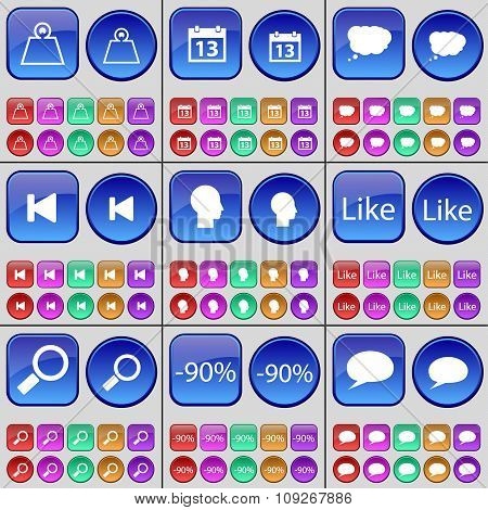 Weights, Calendar, Chat Cloud, Media Skip, Silhouette, Like, Magnifying Glass, Discount, Chat