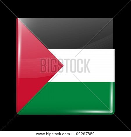 Flag Of Palestine. Glassy Icon Square Shape