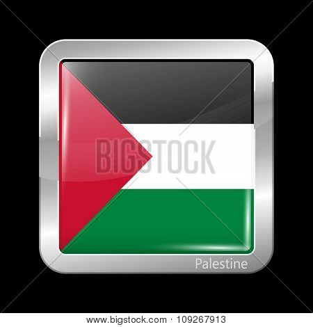 Flag Of Palestine. Metallic Icon Square Shape