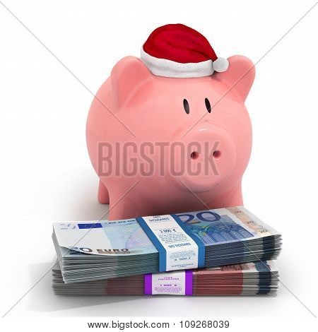 Piggy Bank In A Christmas Hat With Bundles Of Euro Banknotes