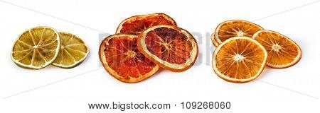 dried citrus fruit isolated on white background