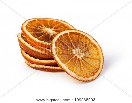 dried oranges isolated on white background