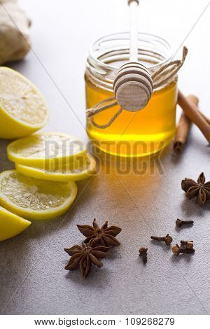 Jar of honey with spices