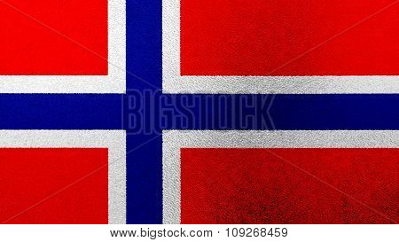 Flag of Norway, Norwegian flag painted on glass.