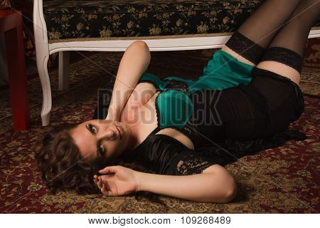 Sexual Woman In A Black Lingerie