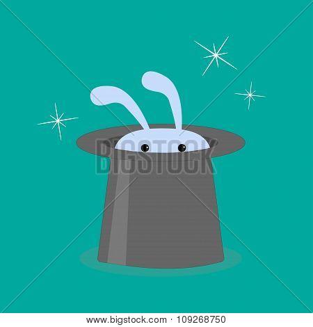Bunny Rabbit In Magic Hat.