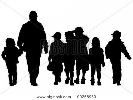Families people with little child