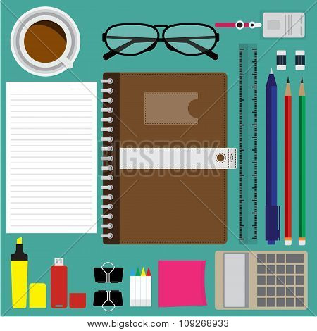 Top View Of Modern Business Items And Office Items On Green Desk. Vector Illustration Flat Design.