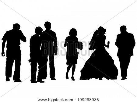 Big crowds people of wedding on white background