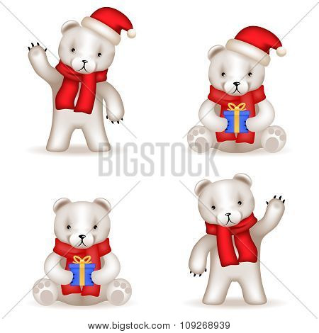 Teddy Bear cub new year Realistic 3d icons set isolated vector illustration