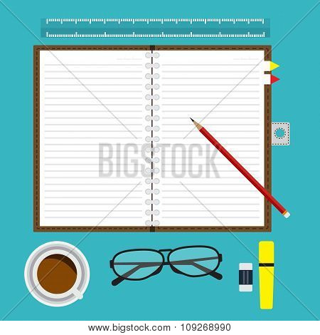 Top View Of Opened Notebook Blank With Line And Red Pencil On Desk With Equipment Coffee Glasses  An