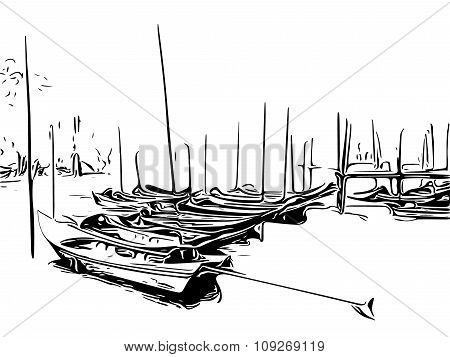 View Of Boats In Port In Black And White. Vector Illustration Design.