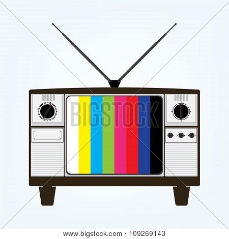 Vintage Old Television With Color Bars Test Image. Vector Illustration In Flat Design.