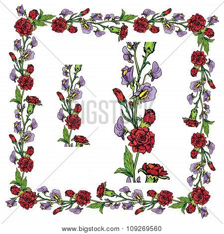 Set Of Ornaments - Decorative Hand Drawn Floral Border And Frame With  Clove And Sweet Pea Flowers,