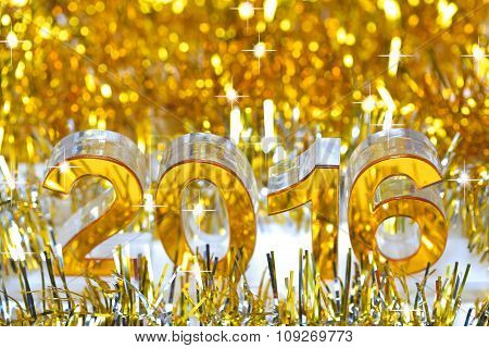Golden 2016 3d digital icon