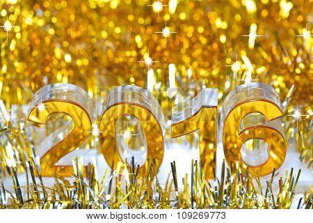 Golden 2016 3d digital icon