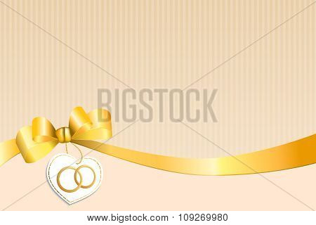 Abstract background beige strips white yellow bow heart with wedding gold rings vector