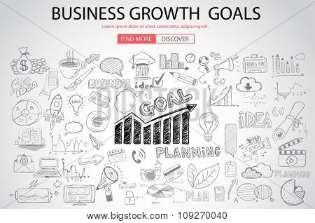Business Growth Goals concet with Doodle design style :finding solution, brainstorming, creative thinking. Modern style illustration for web banners, brochure and flyers.