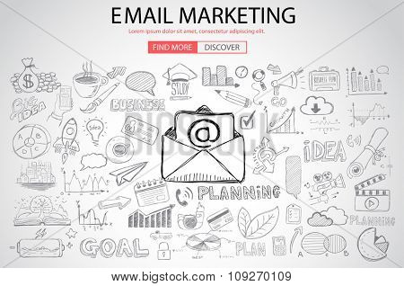 Email Marketing with Doodle design style :sending visual emails, promotions, creative designs. Modern style illustration for web banners, brochure and flyers.