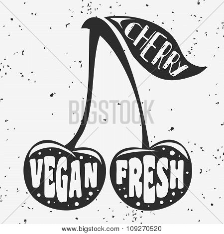 Vegan Typographic Print With Cherry.
