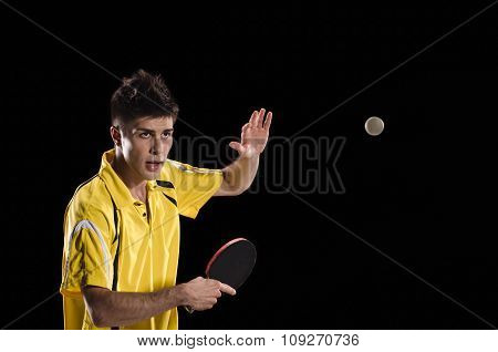 Table tennis player man in action