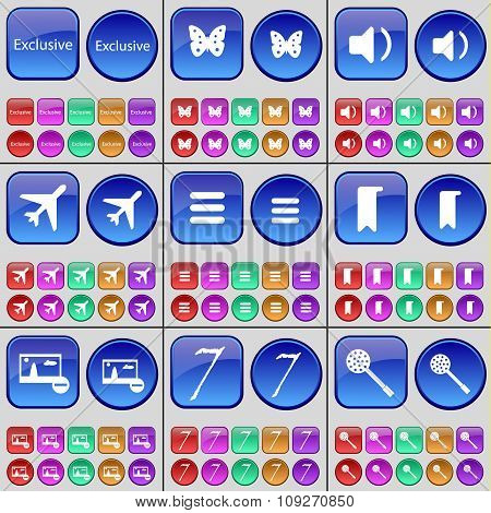 Exclusive, Butterfly, Sound, Airplane, Apps, Marker, Picture, Seven, Skimmer. A Large Set Of Multi-