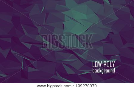 Low poly 3d abstract vector background. Dark purple, green color combination for mystic underwater s