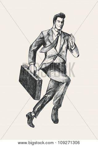 Sketch illustration of a businessman running