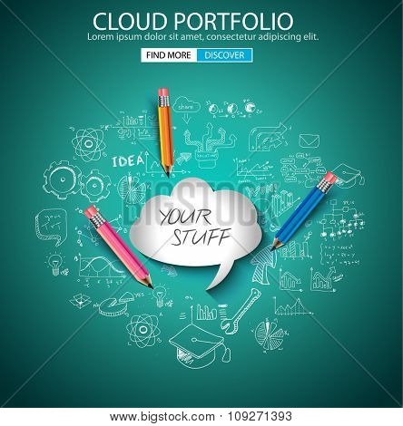 Cloud Portfolio concept with Doodle design style :on line marketing, social media,creative thinking. Modern style illustration for web banners, brochure and flyers.