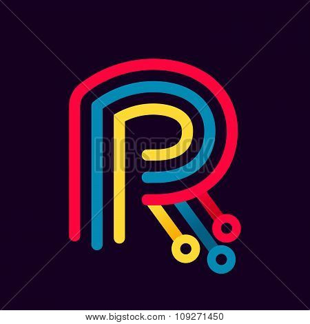 R Letter Formed By Electric Line.