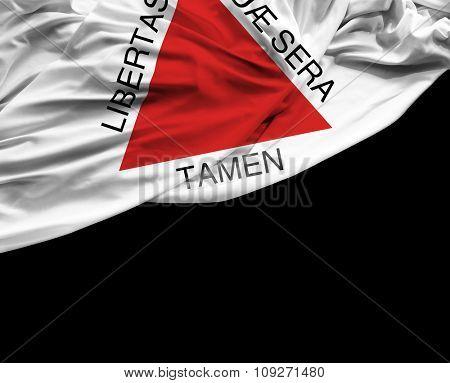 Minas Gerais waving flag on black background
