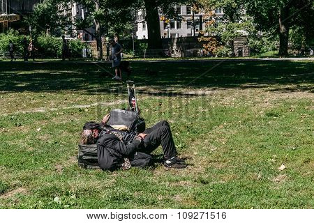 Homeless Man In Central Park In New York