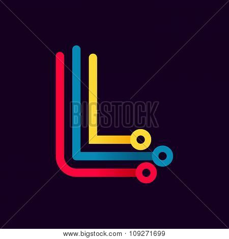 L Letter Formed By Electric Line.