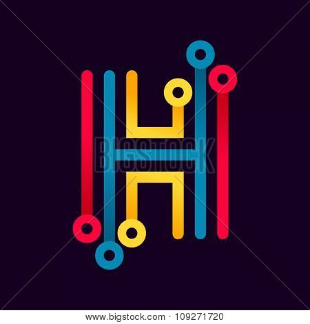 H Letter Formed By Electric Line.
