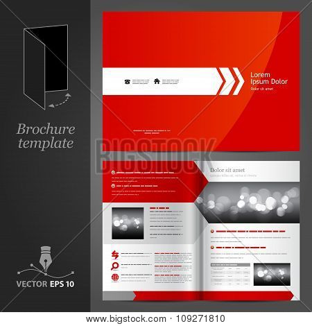 Red brochure template design