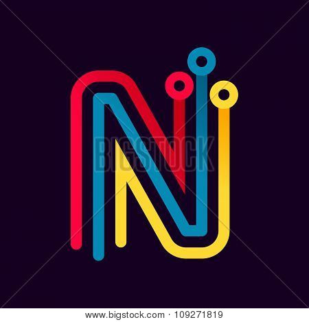 N Letter Formed By Electric Line.