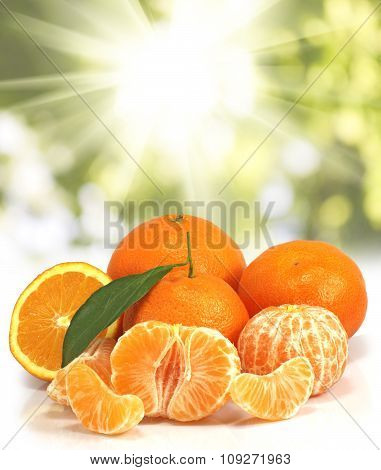 Image Of Orange On Sunlight Background  Close-up