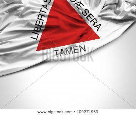 Minas Gerais waving flag on white background