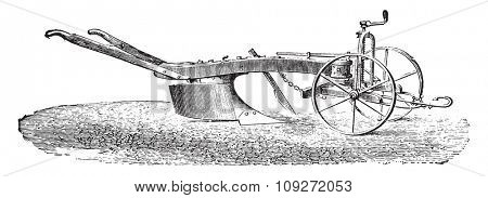 Dombasle plow with his limber, vintage engraved illustration. Industrial encyclopedia E.-O. Lami - 1875.