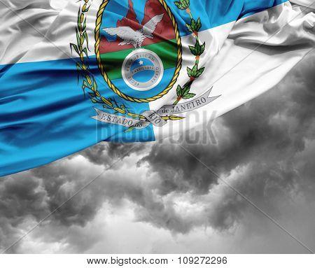 Rio de Janeiro waving flag on a bad day