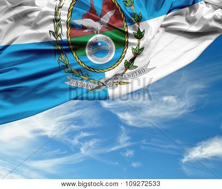 Rio de Janeiro waving flag on a beautiful day