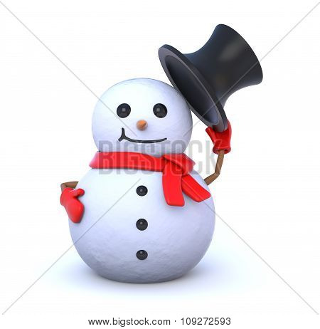 Small Snowman Takes Off His Hat