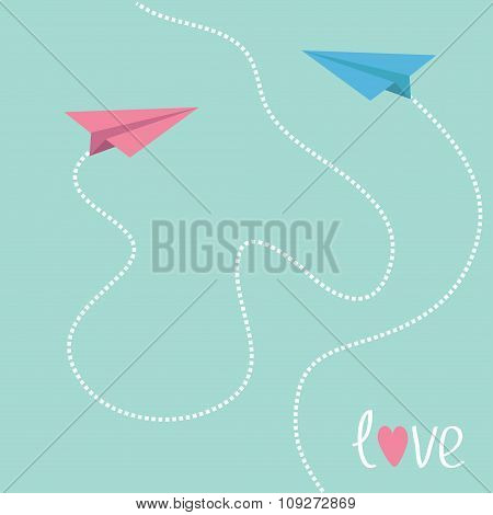 Pink And Blue Origami Paper Planes. Dash Heart In The Sky. Love