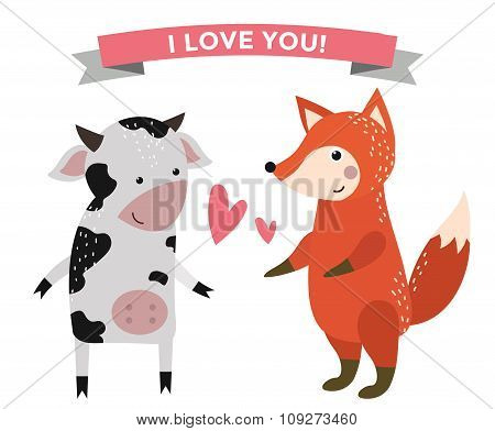 Cute cartoon animals couples fall in love banner vector illustration