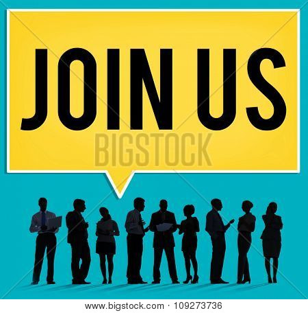 Join us Information Networking About Business Concept