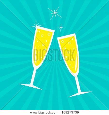 Champagne Glasses. Sunburst . Card. Flat Design