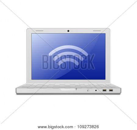 Wireless concept. Vector illustration of laptop and wireless technology