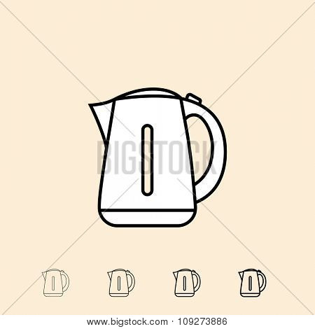 Electric kettle icon. Vector icon in four different thickness. Linear style