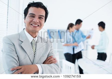 Cheerful executive